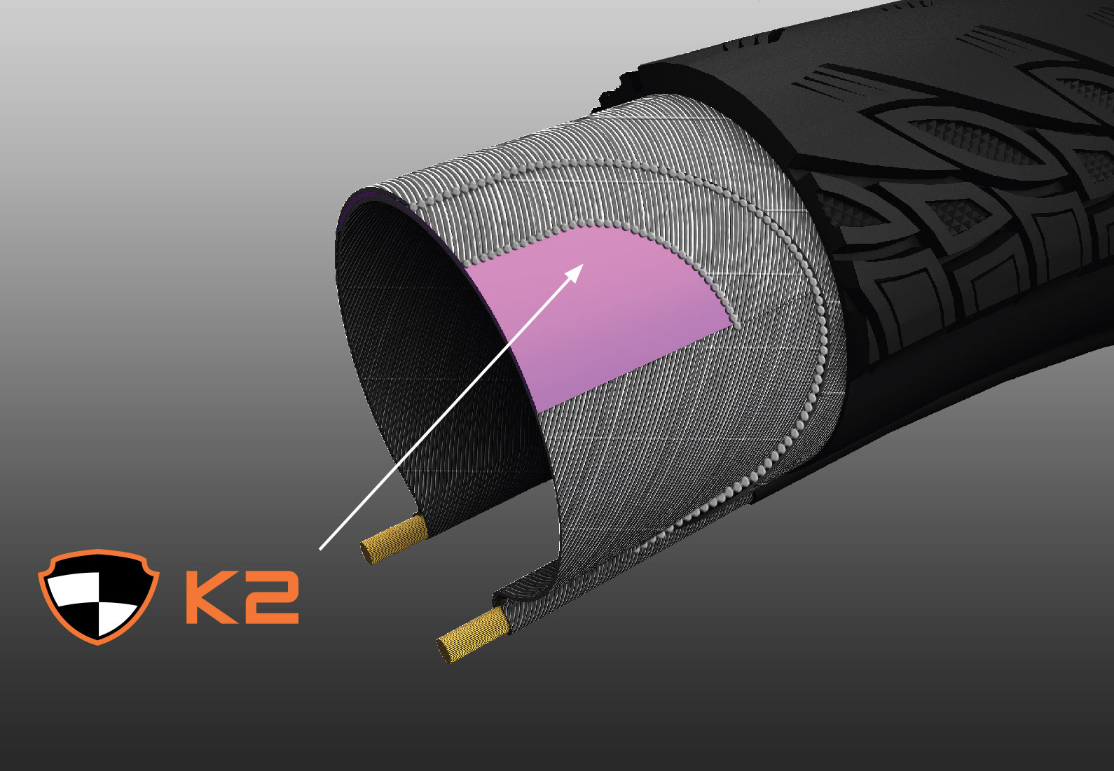 KEVLAR® COMPOSITE K2 - Tato exkluzivní ochrana proti defektu je k dispozici ve vybraných pneumatikách a poskytuje větší ochranu proti propíchnutí než standardní Kevlar® a Vectran®.Přidání tohoto lehkého a pružného materiálu zajišťuje, že kvalita jízdy a výkon zůstanou nepřekonatelné.
