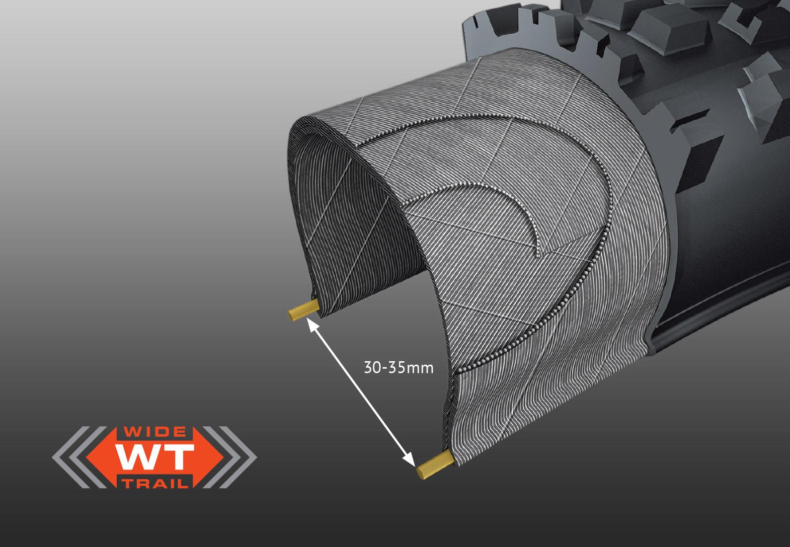 WIDE TRAIL (WT) CONSTRUCTION -optimalizuje rozložení a profil běhounu pneumatiky na moderních, širších ráfcích.Tradiční pneumatiky jsou navrženy kolem starších, užších ráfků a mohou vytvořit příliš čtvercový profil pneumatiky, což vede k méně než optimálnímu výkonu.Pneumatiky WT jsou optimalizovány pro vnitřní šířku ráfku 30-35mm.