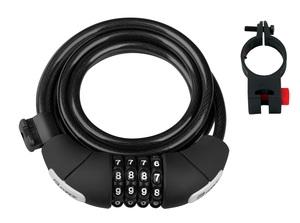 Force zámek LUX spirálový kódový + držák, černý