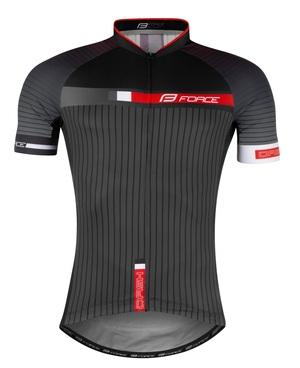 Force dres DASH krátký rukáv, šedo-červeno-černý