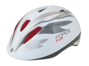 Force dětská helma FUN STRIPES, bílo-šedo-červená