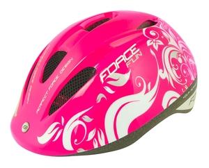 Force dětská helma FUN FLOWERS,  růžovo-bílo-šedá