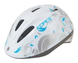 Force dětská helma FUN FLOWERS,  bílo-šedo-modrá