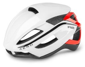 R2 helma AERO bílá, černá, červená / lesklá