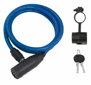 Force zámek ECO spirálový s držákem 120cm/8mm, modrý
