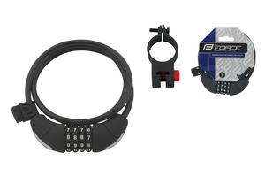 Force zámek LUX spirálový kódový 120cm/8mm + držák, černý