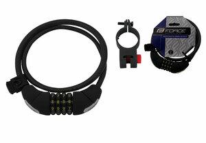 Force zámek LUX spirálový kódový 85cm/10mm + držák, černý