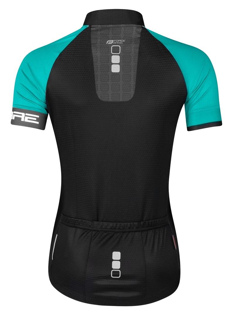 Force dres dámský SQUARE krátký rukáv, černo-tyrkysový