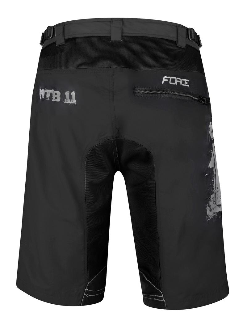 Force kraťasy MTB-11 s odnímatelnou vložkou, černé