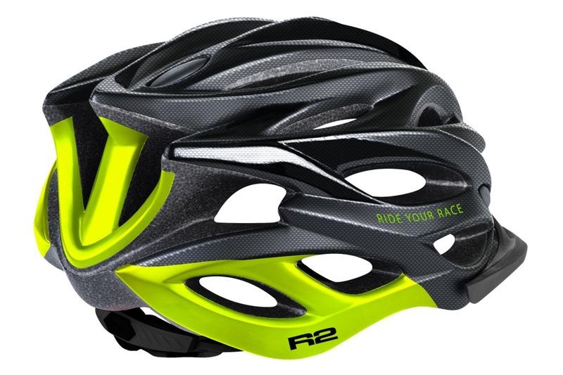 R2 helma WIND černá karbon, neon žlutá