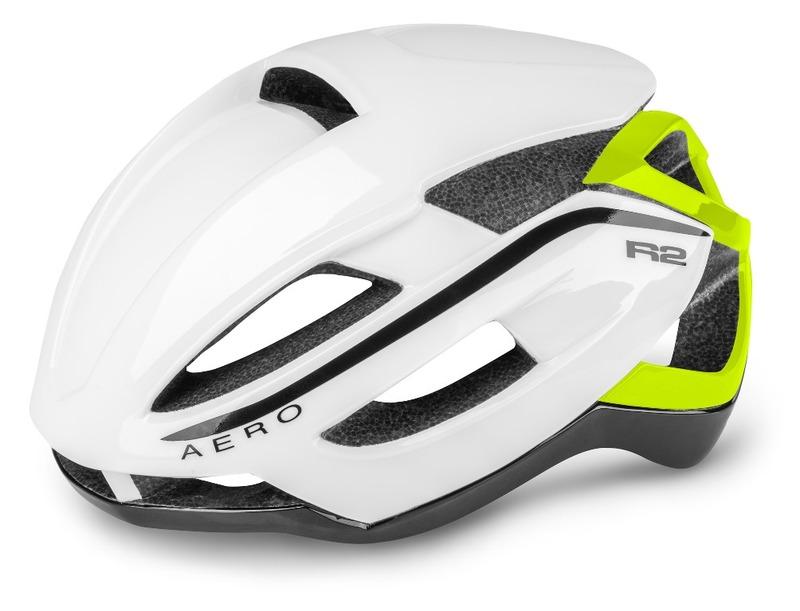 R2 helma AERO bílá, neon žlutá / lesklá