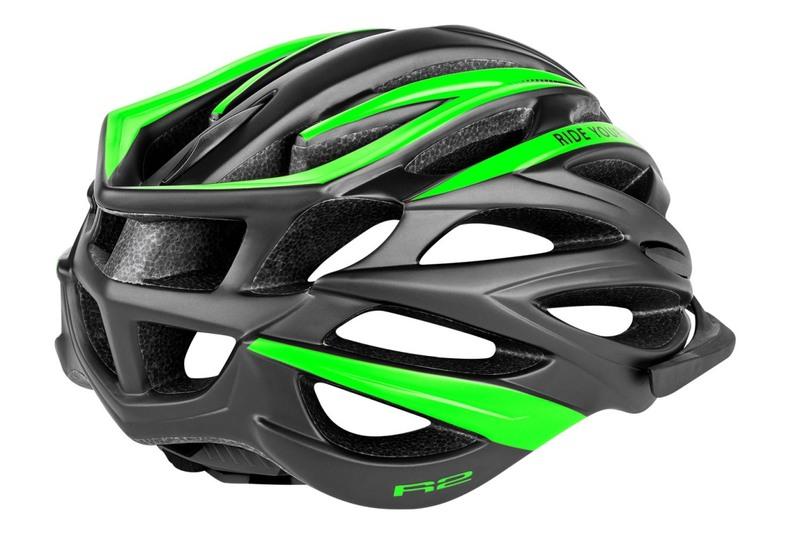R2 helma ARROW černo/zelená matná