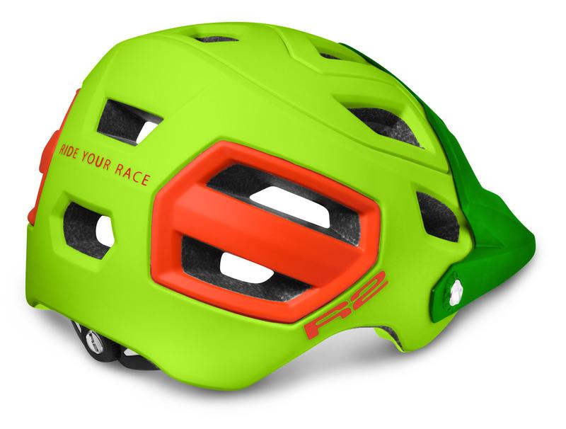 R2 helma TRAIL neon žlutá/neon červená matná