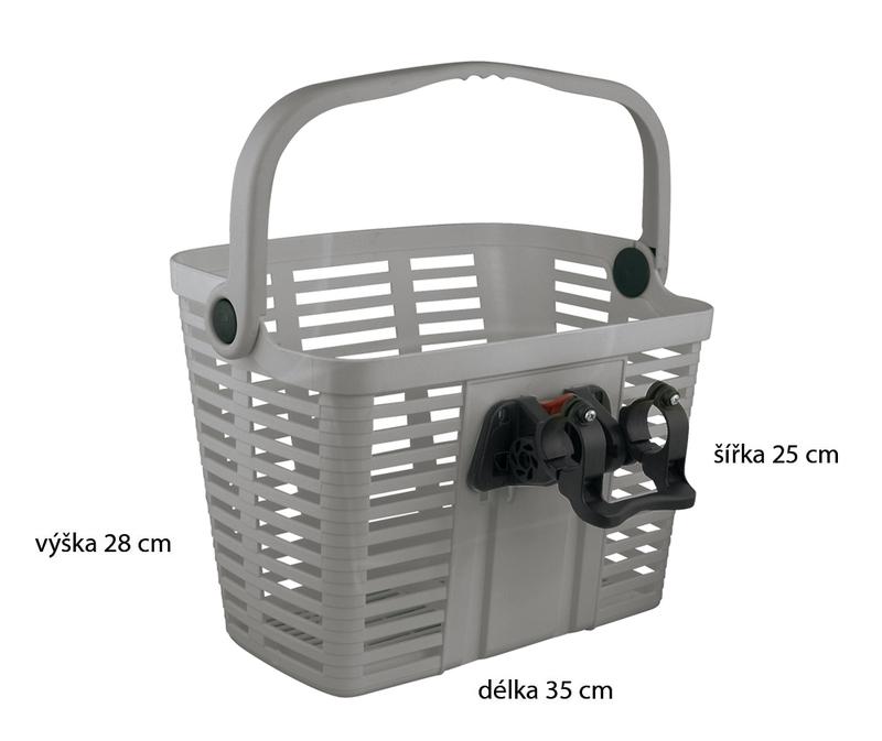 Belleli košík plast na řídítka, stříbrný