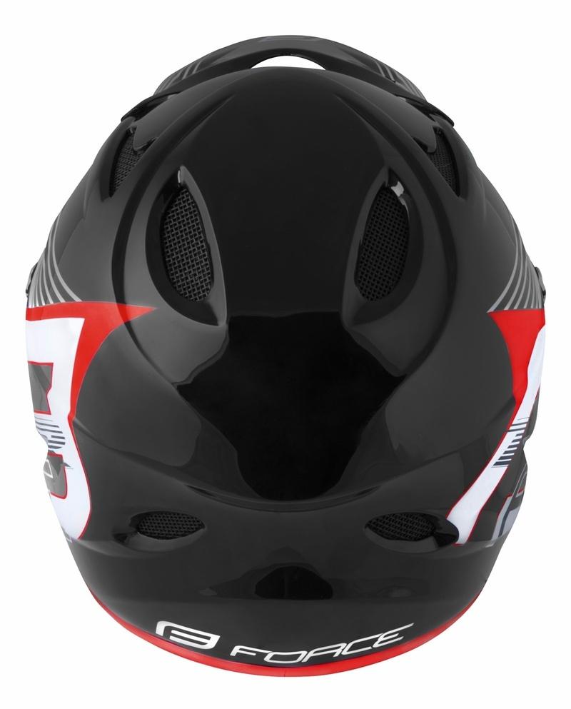 Force přilba TIGER downhill černo bílá červená