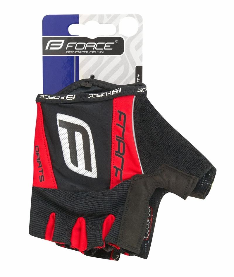Force rukavice DARTS 17 gel, bez zapínání, černo-červené