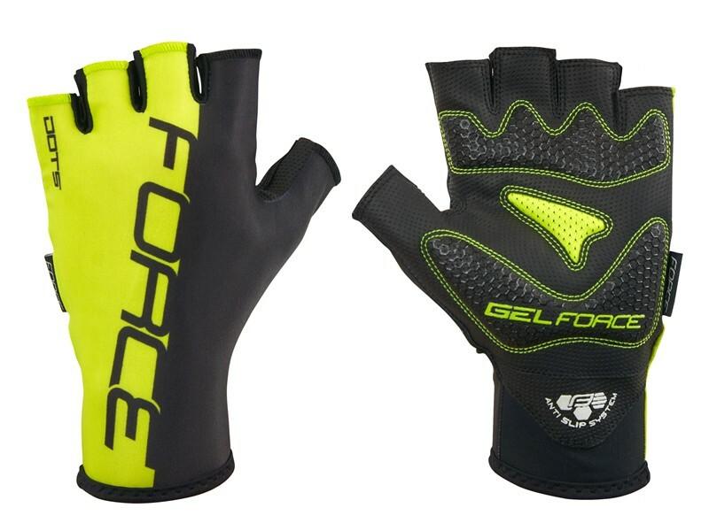 Force rukavice DOTS fluo černé
