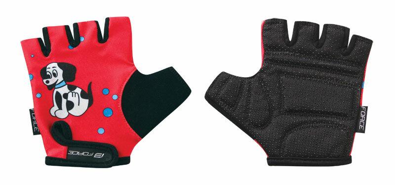 Force rukavice KID dětské červené pejsek
