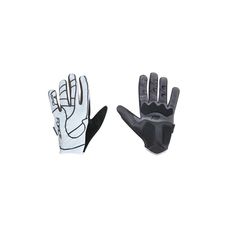 Force rukavice MTB SPID, letní bez zapínání, bílé