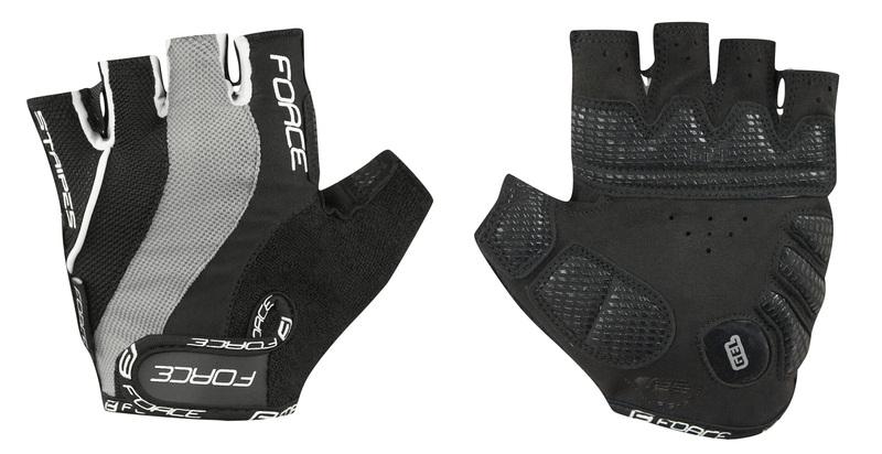 Force rukavice STRIPES gel černé