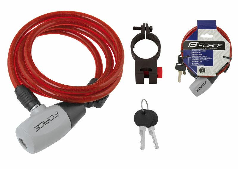 Force zámek RON spirálový s držákem, červený 120cm/8mm