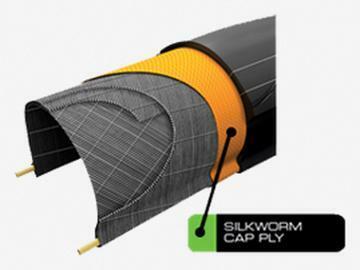 SILKWORM: Exkluzivní materiál zabudovaný do kordu pláště zvyšuje ochranu proti defektu a roztržení pláště.